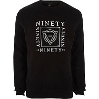 Black 'ninety' print soft felt sweatshirt
