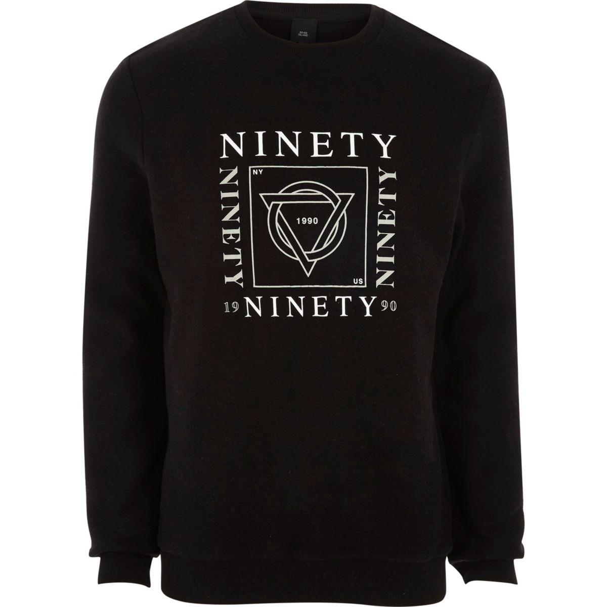 Sweat en feutre doux imprimé «ninety» noir
