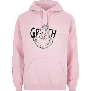 Roze kerst-hoodie met Grinch-print