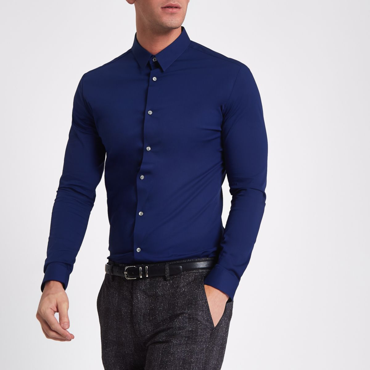 Navy muscle fit long sleeve shirt