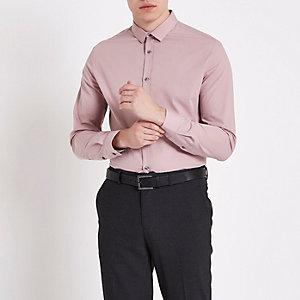 Zachtroze slim-fit overhemd met lange mouwen