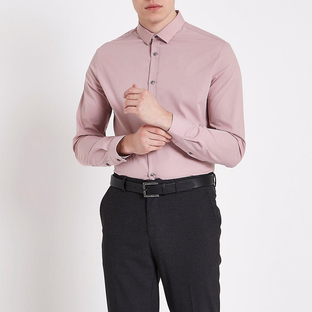 Chemise slim rose poudré à manches longues