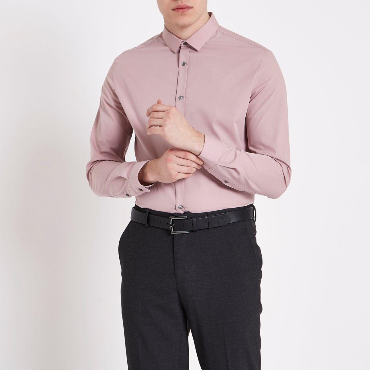 Blush pink slim fit long sleeve shirt