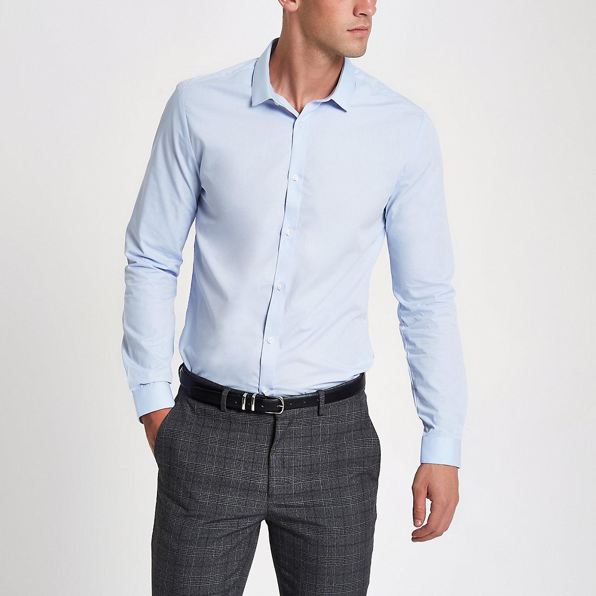 Blue slim fit long sleeve shirt