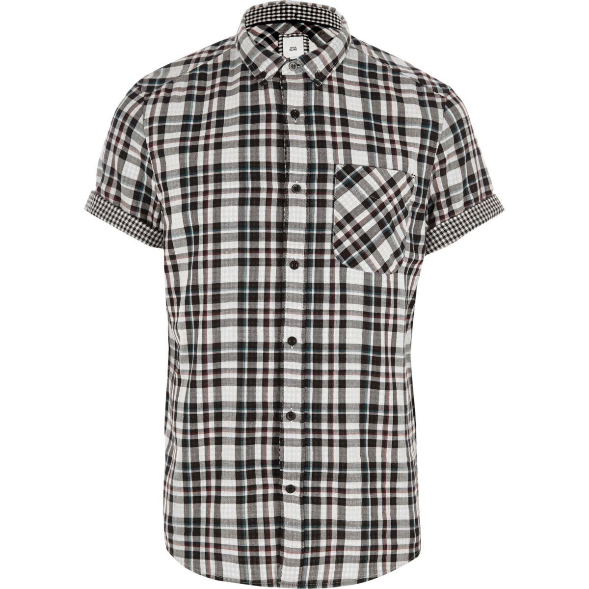 short White check shirt double face sleeve Aw7wYqx