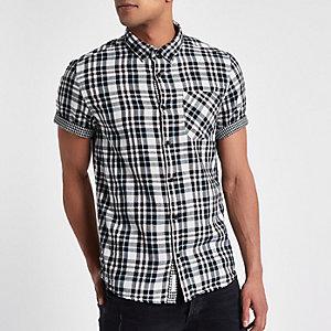 Wit geruit tweezijdig overhemd met korte mouwen