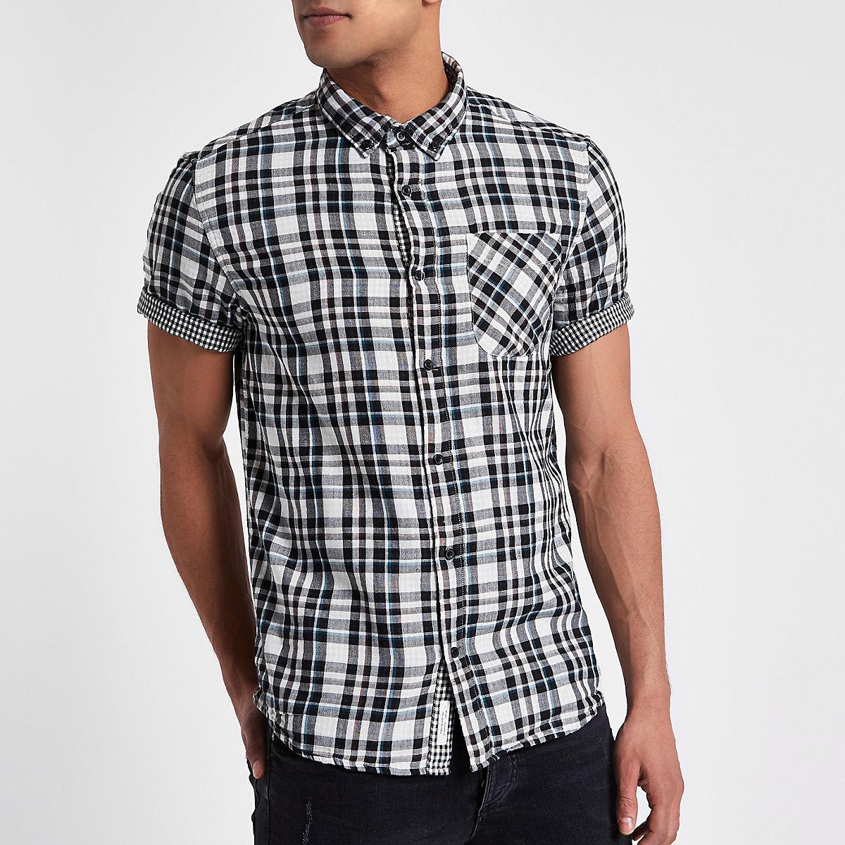 White check double face short sleeve shirt