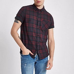 Dark red check short sleeve slim fit shirt