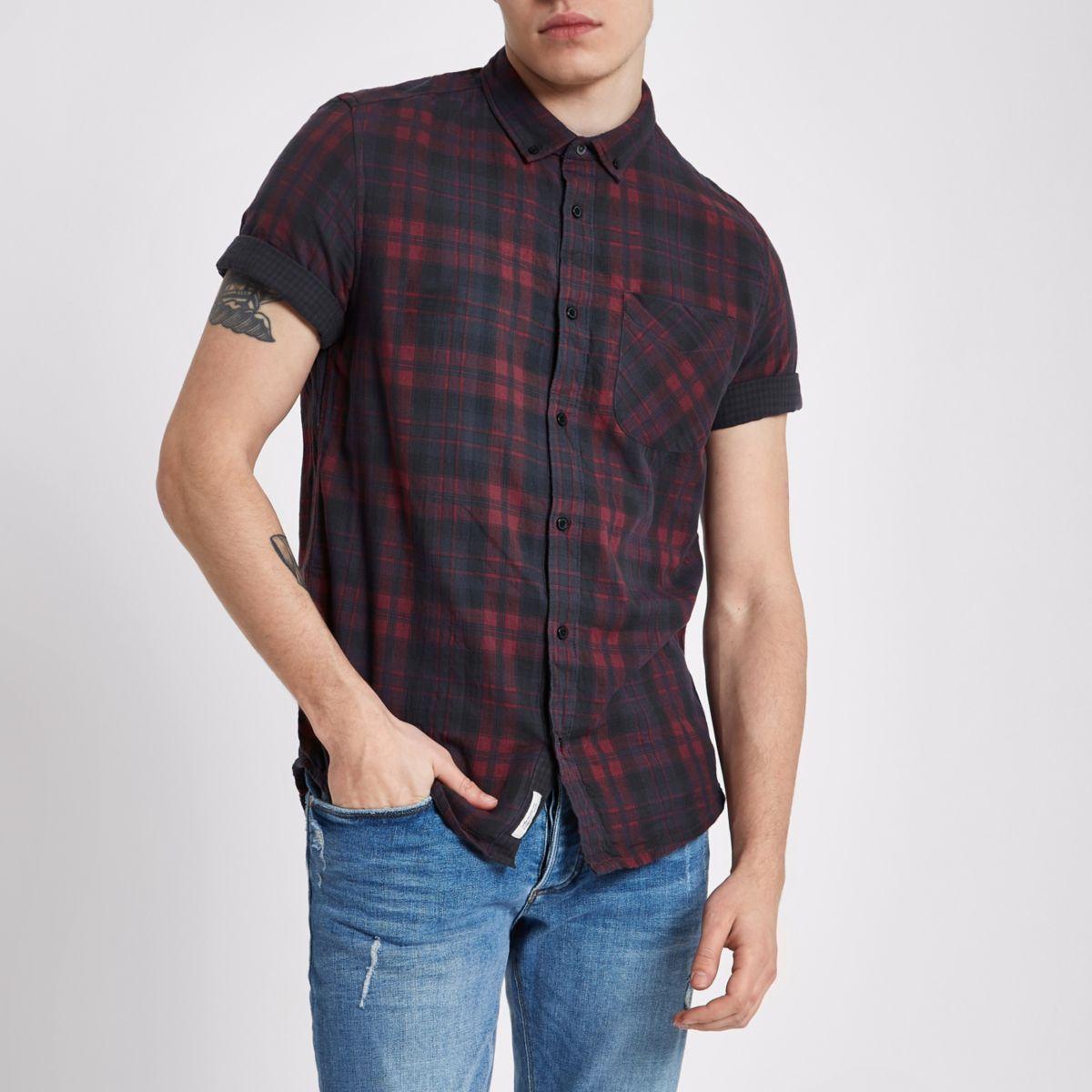 Dark red check short sleeve slim fit shirt