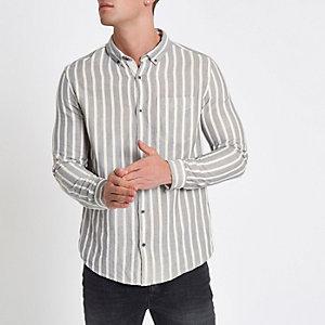 Ecru gestreept slim-fit overhemd met lange mouwen