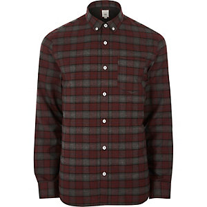 Donkerrood geruit button-down overhemd met lange mouwen