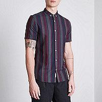 Burgundy mixed stripe slim fit shirt
