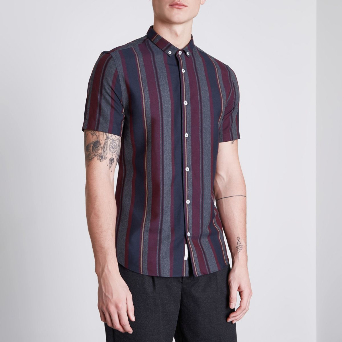 Burgundy mixed stripe slim fit shirt