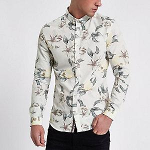 Lichtgrijs slim-fit overhemd met geometrische en bloemenprint