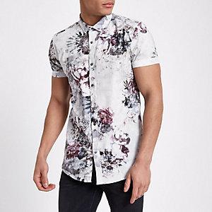 Lichtgrijs slim-fit overhemd met bloemenprint