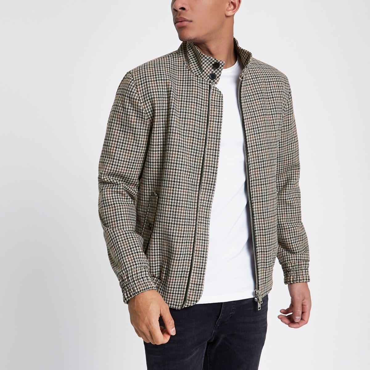 Brown check harrington jacket