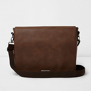 Brown flapover satchel bag