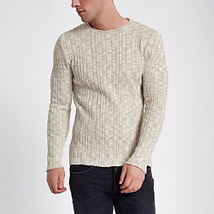 Cream ribbed rolled crew neck sweater