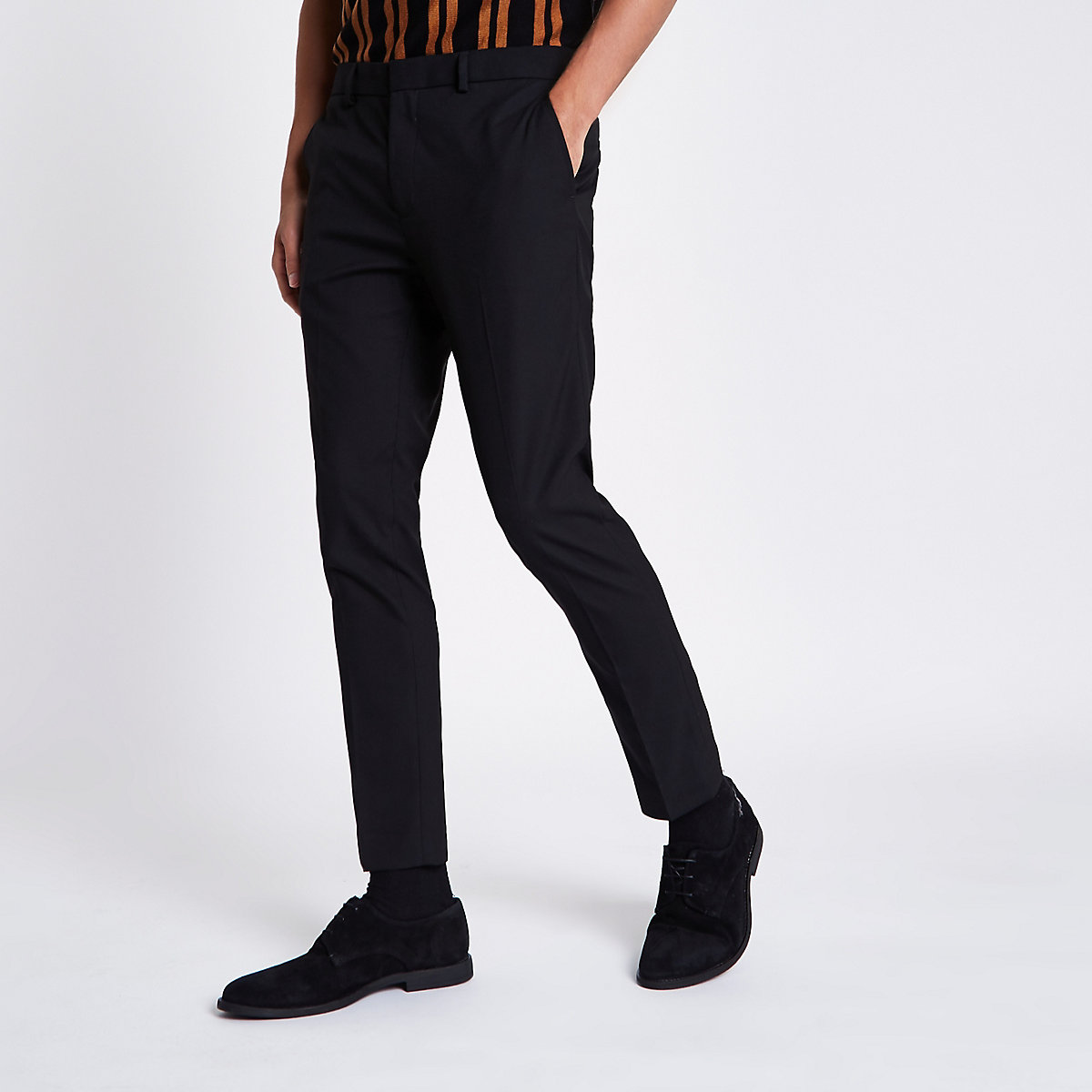Black super skinny fit cropped smart trousers