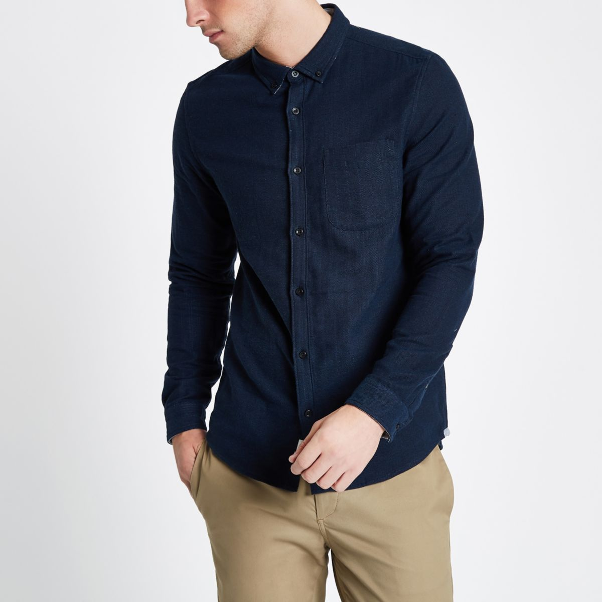 Navy Long Sleeve Double Face Shirt by River Island