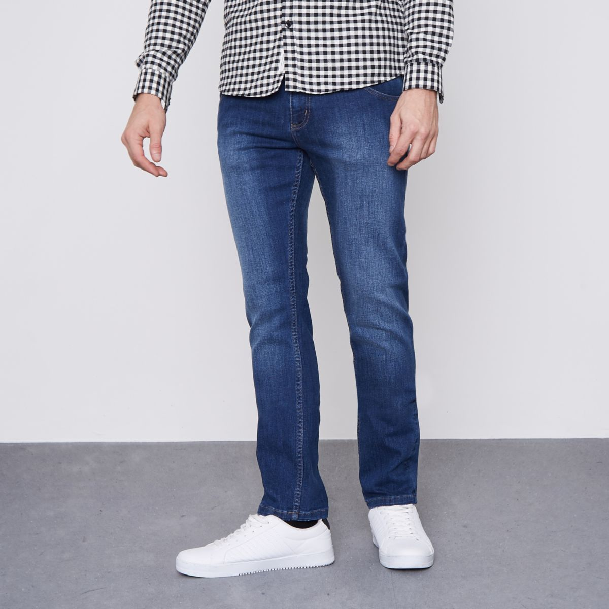 Discount New Arrival River Island Mens Monkee Genes dark Blue slim fit jeans Monkee Genes Grey Outlet Store Online In China Online D7C296C4v