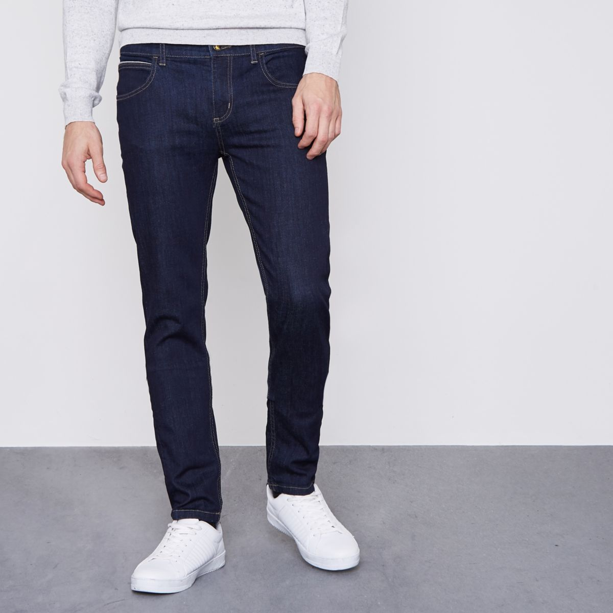 Monkee Genes dark blue slim tapered fit jeans