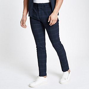Blauwe nette geruite skinny broek