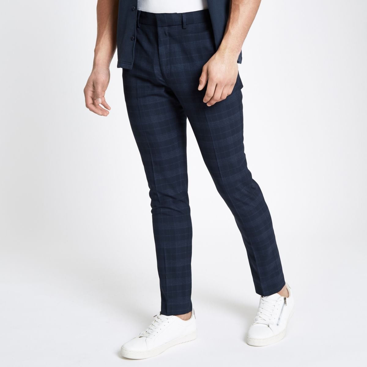 Blue check smart skinny trousers