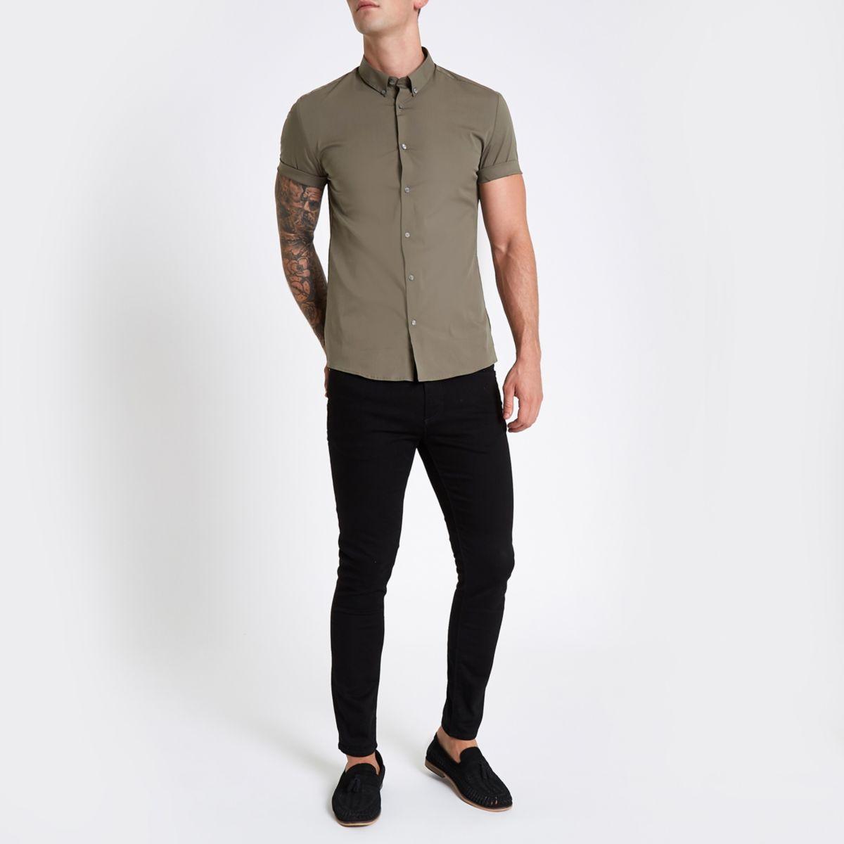 short muscle fit sleeve shirt Khaki qfERw