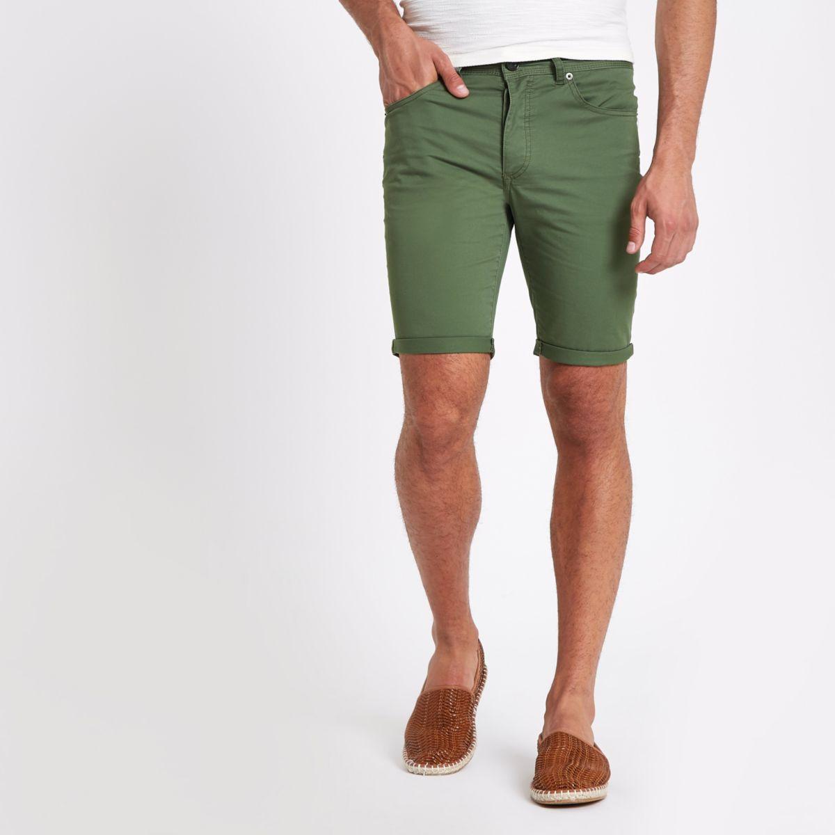 Khaki green skinny fit shorts