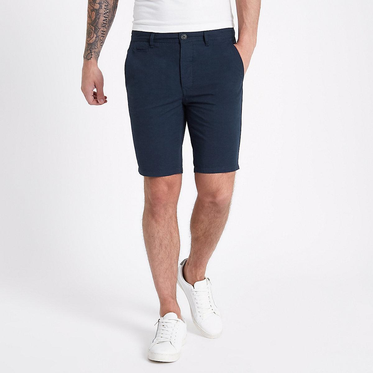 Navy slim fit Oxford chino shorts