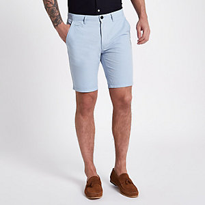 Blue slim fit Oxford chino shorts