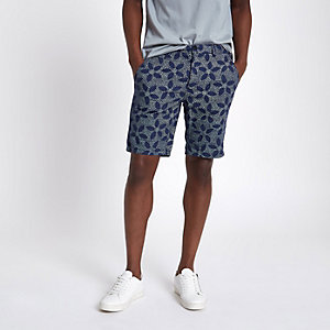 Short chino Oxford slim à pois bleu marine