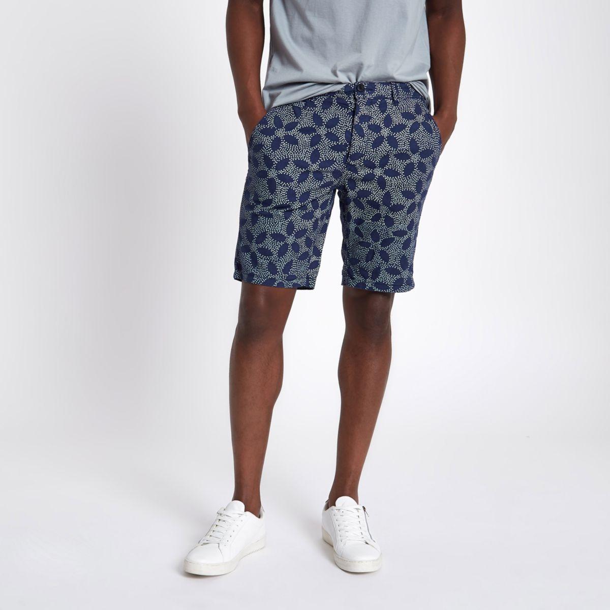 Navy dot slim fit Oxford chino shorts