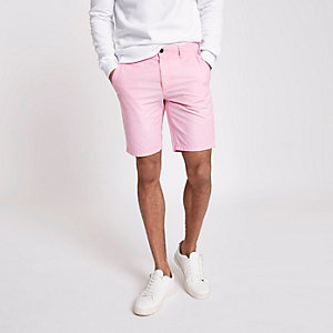 Pink slim fit Oxford shorts