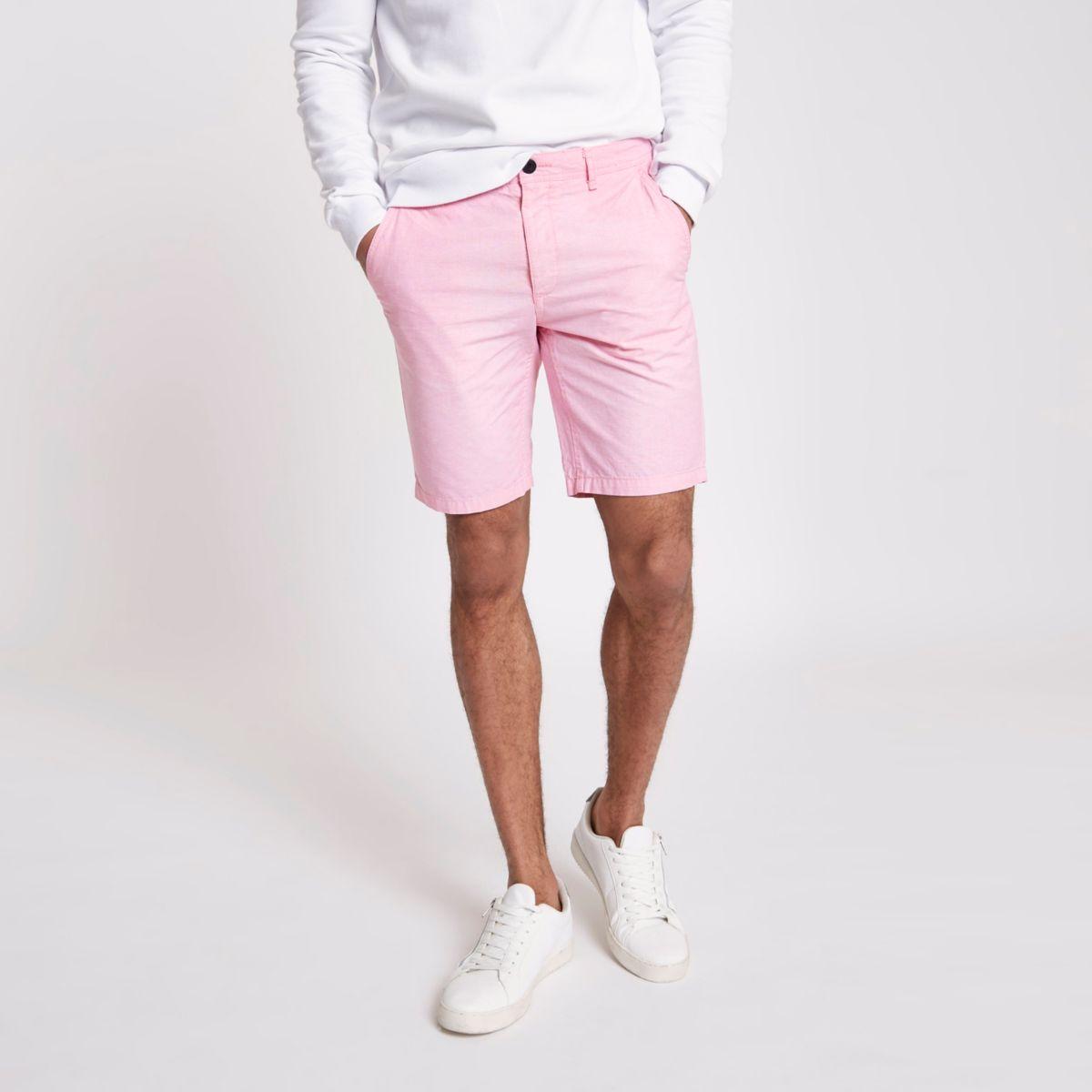 Pink slim fit Oxford chino shorts
