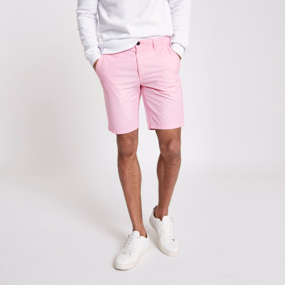 Pink slim fit Oxford chino shorts