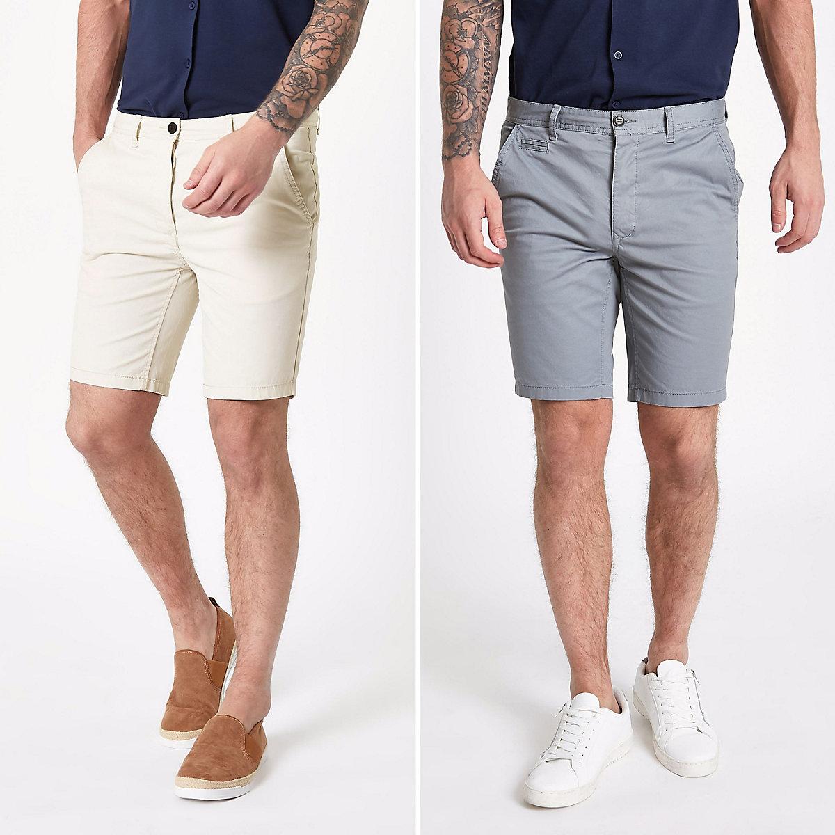 Grey slim fit shorts 2 pack