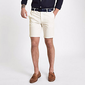 White belted slim fit shorts