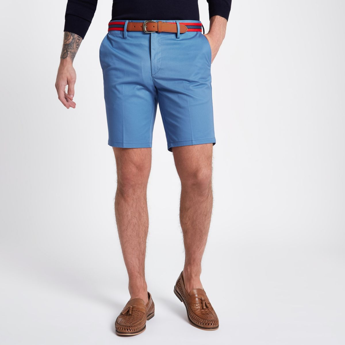 Blue belted slim fit chino shorts