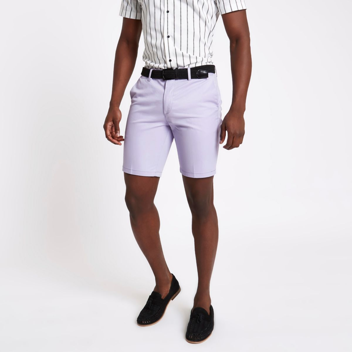 Lilac Slim fit belted chino shorts