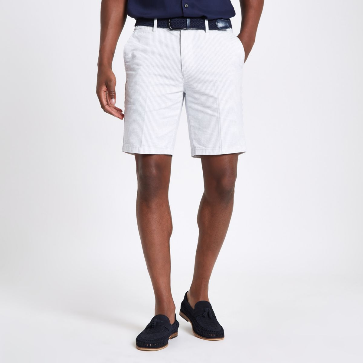 White stripe belt detail slim fit shorts