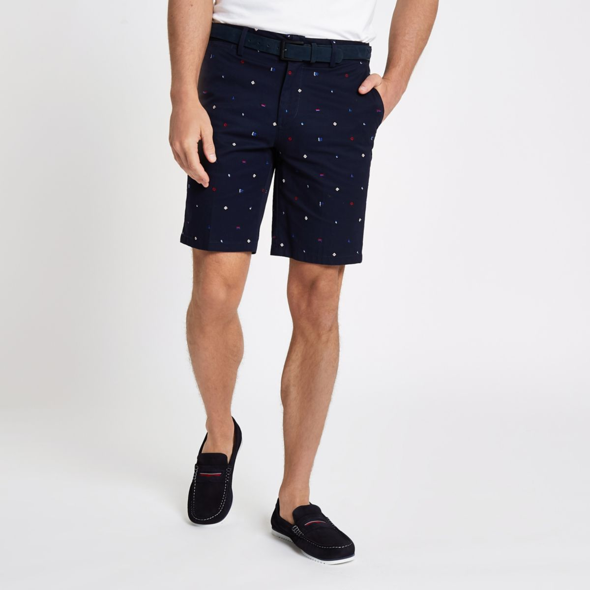 Navy belt detail slim fit shorts
