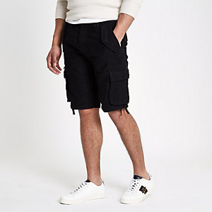 Black slim fit cargo shorts
