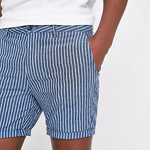 Blue stripe linen slim fit chino shorts
