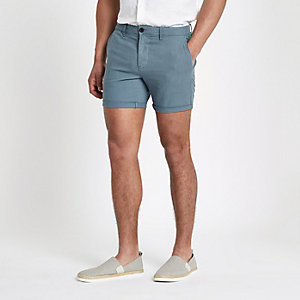 Teal green slim fit chino shorts