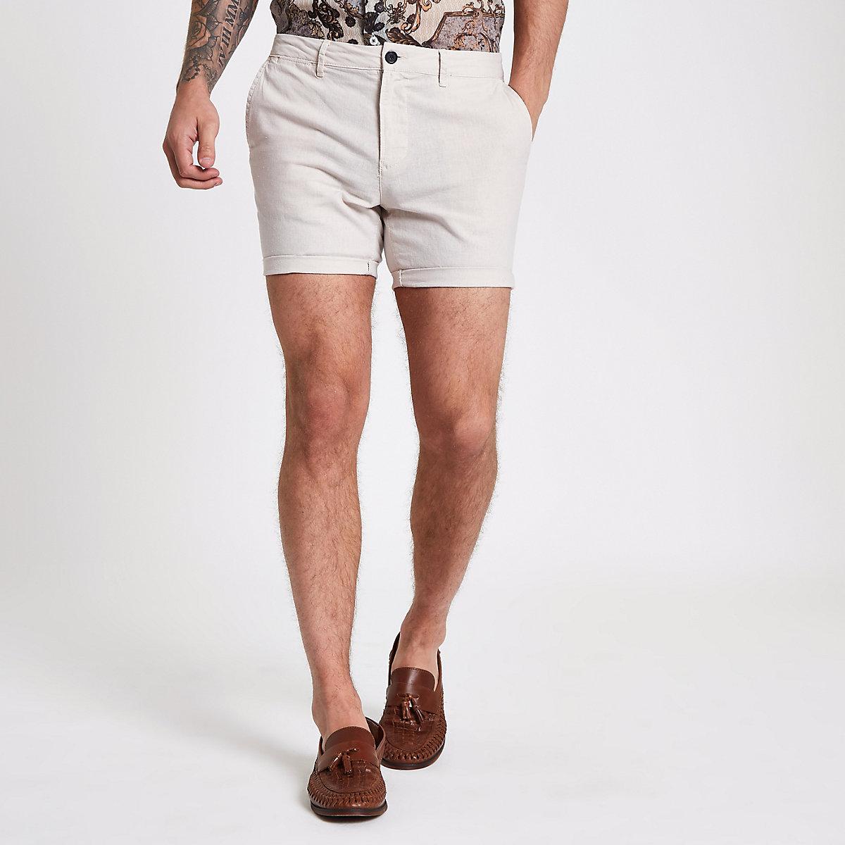 Stone linen slim fit chino shorts