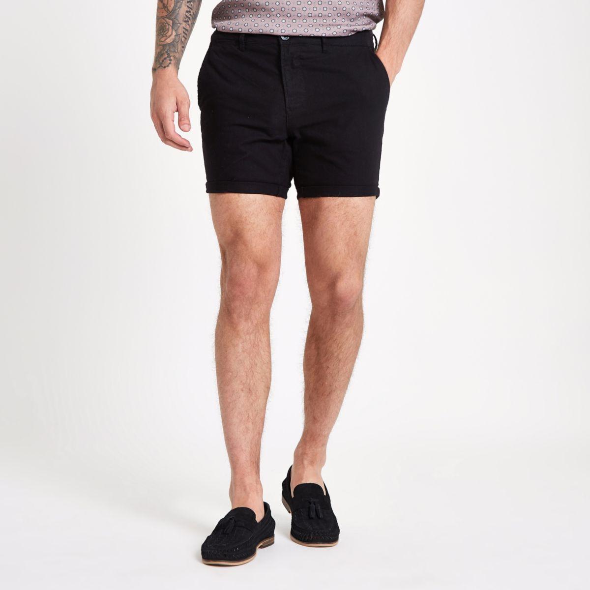 Black slim fit chino shorts