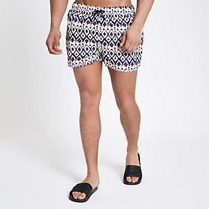Ecru primal print short swim shorts