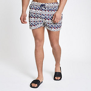 Ecru primal print short swim trunks